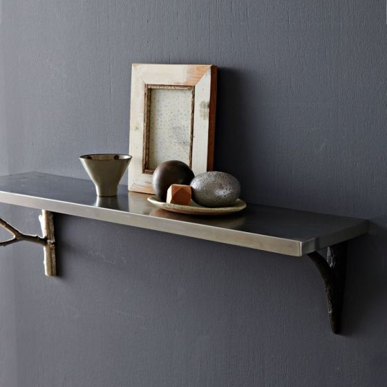 Stainless Steel Shelf + Silver Branch Brackets West Elm