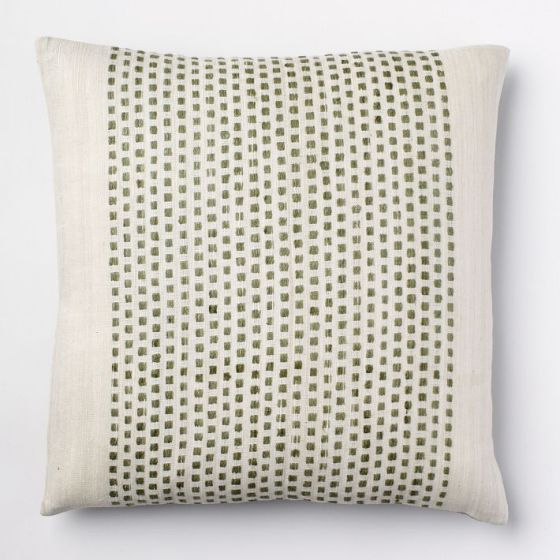 Embroidered Dot Silk Pillow West Elm