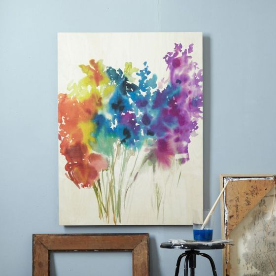 Floral Watercolor + Birch Wall Art West Elm
