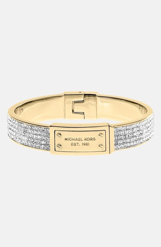 Logo Plaque Pave Hinged Bangle Michael Kors