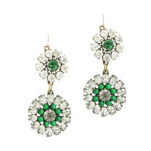 Emerald Crystal Botanica Earrings Ily Couture