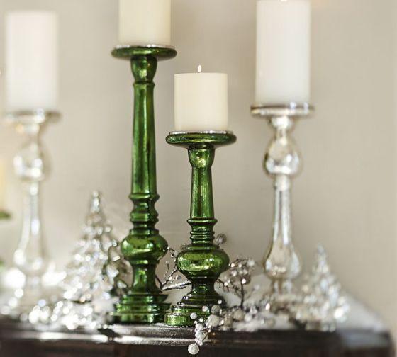 Everett Green Mercury Glass Pillar Holders