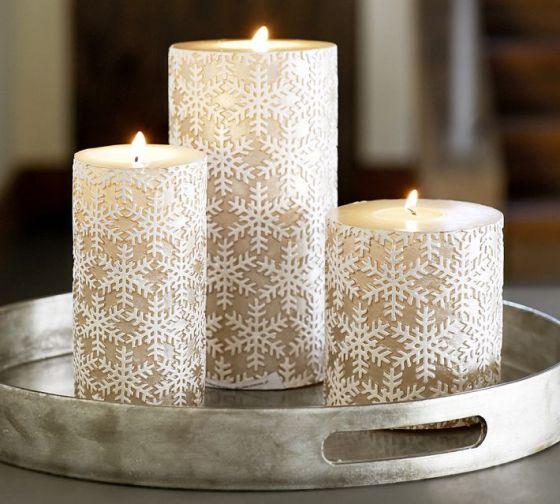 Metallic Snowflake Pillar Candles