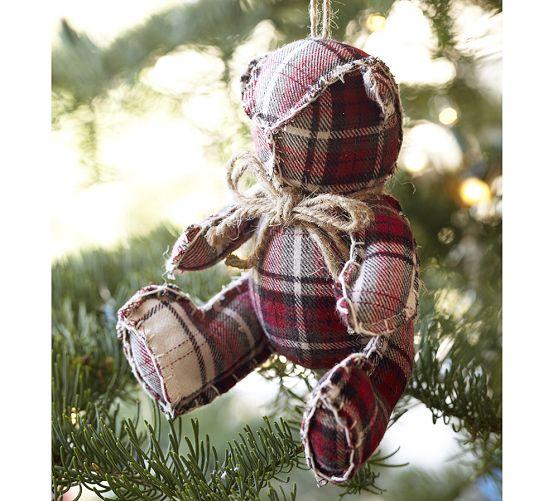 Plaid Fabric Bear Ornament