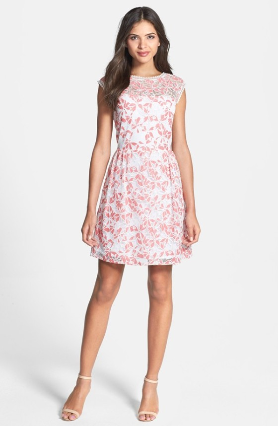V-Back Lace Fit & Flare Dress Laundry by Shelli Segal