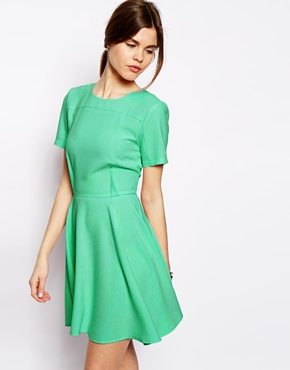 Crepe Skater Dress With Seaming ASOS