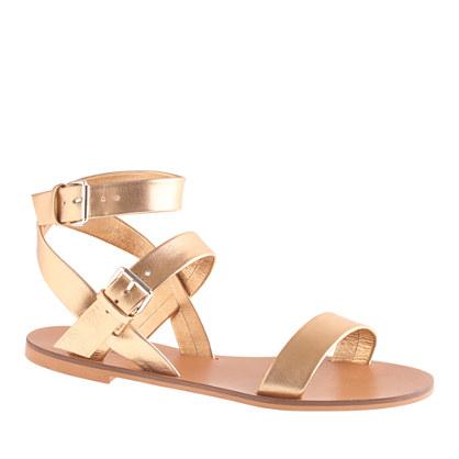 J.Crew Leila metallic ankle-wrap sandal