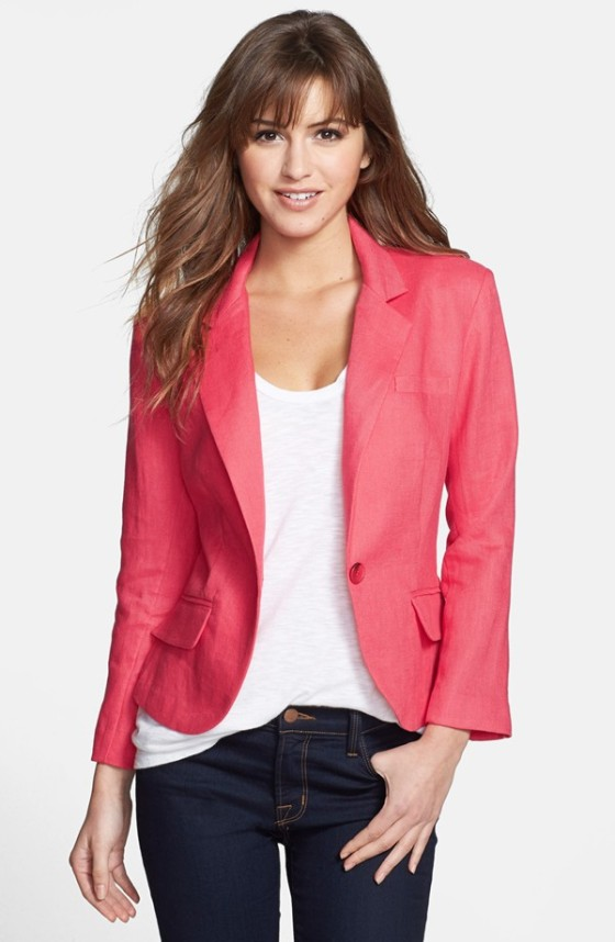Nordstrom Olivia Moon Three Quarter Sleeve Linen Blazer